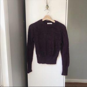 Zara Knit eyelash knit fuzzy cropped sweater